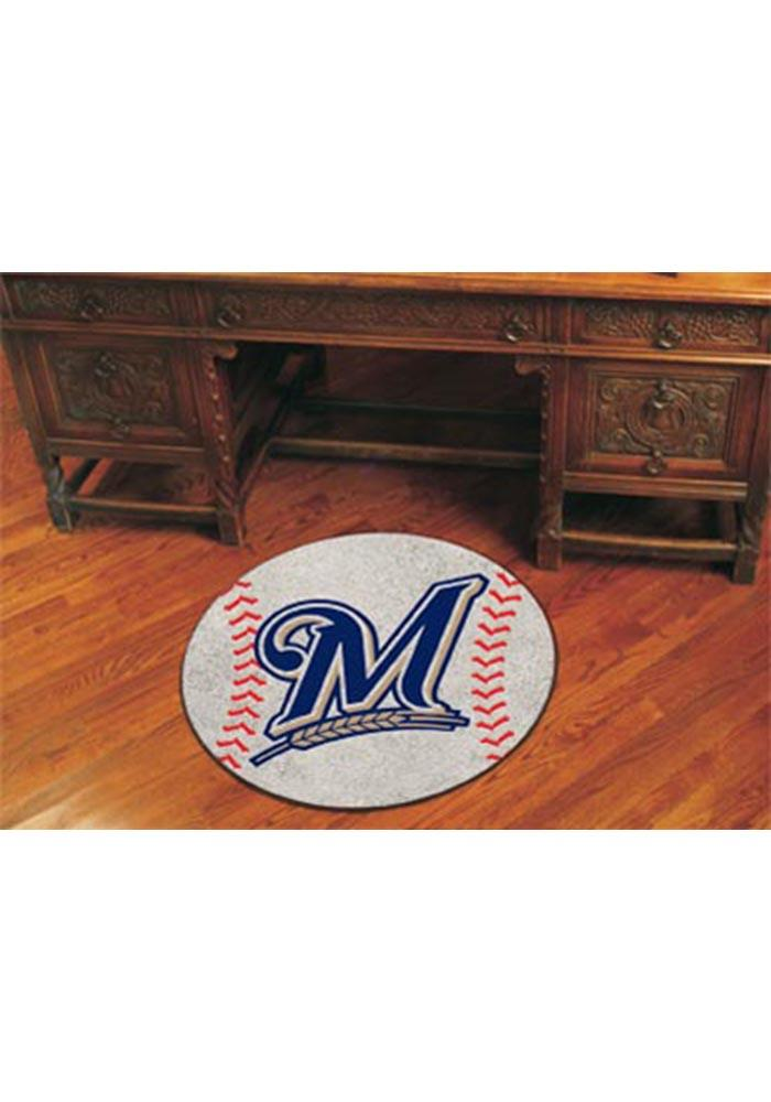 Milwaukee Brewers 27` Baseball Interior Rug - Image 1