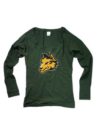 Wright State Raiders Juniors Cotton Jersey Green Scoop Neck Tee