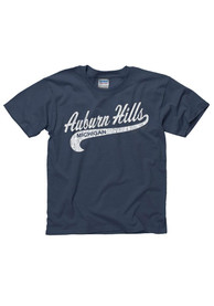 Auburn Hills Youth Navy Blue City Tailsweep Short Sleeve T Shirt