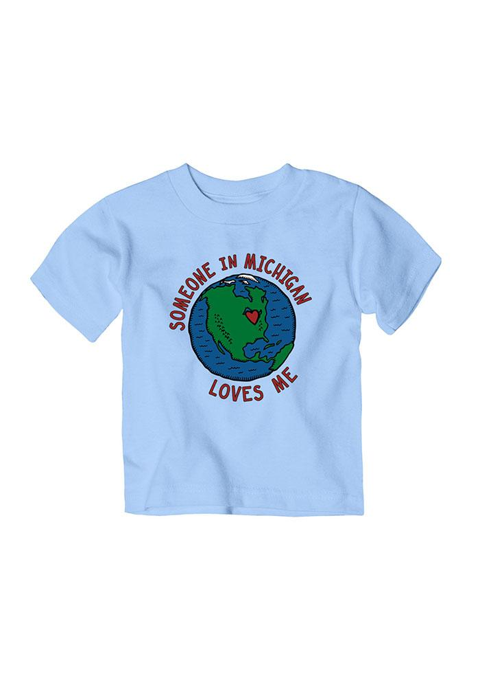 Michigan Toddler Light Blue Someone Loves Me Short Sleeve T Shirt - Image 1