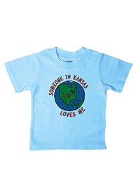 Kansas Infant Someone in KS Loves Me T-Shirt - Light Blue
