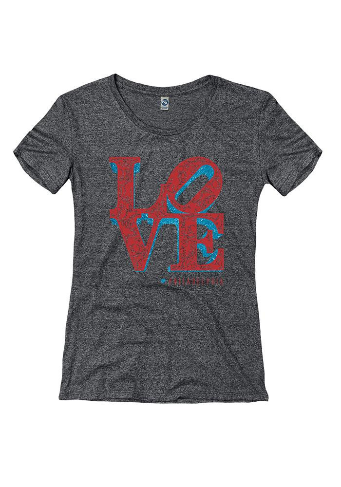 Womens Black Love Philly Short Sleeve T-Shirt - Image 1