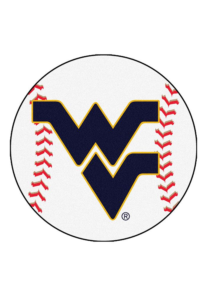 West Virginia Mountaineers 27` Baseball Interior Rug - Image 1