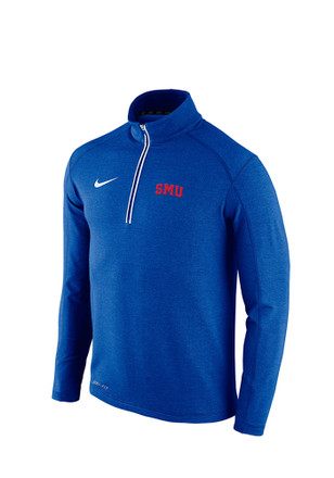 Nike Mustangs Mens Blue Game Day 1/4 Zip Performance Pullover