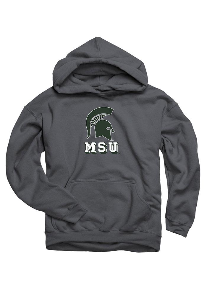 Michigan State Spartans Kids Charcoal Logo Mark Long Sleeve Hoodie - Image 1