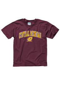 Central Michigan Chippewas Youth Maroon Arch Mascot T-Shirt