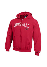 Louisville Cardinals Youth Red Arch Full Zip Jacket