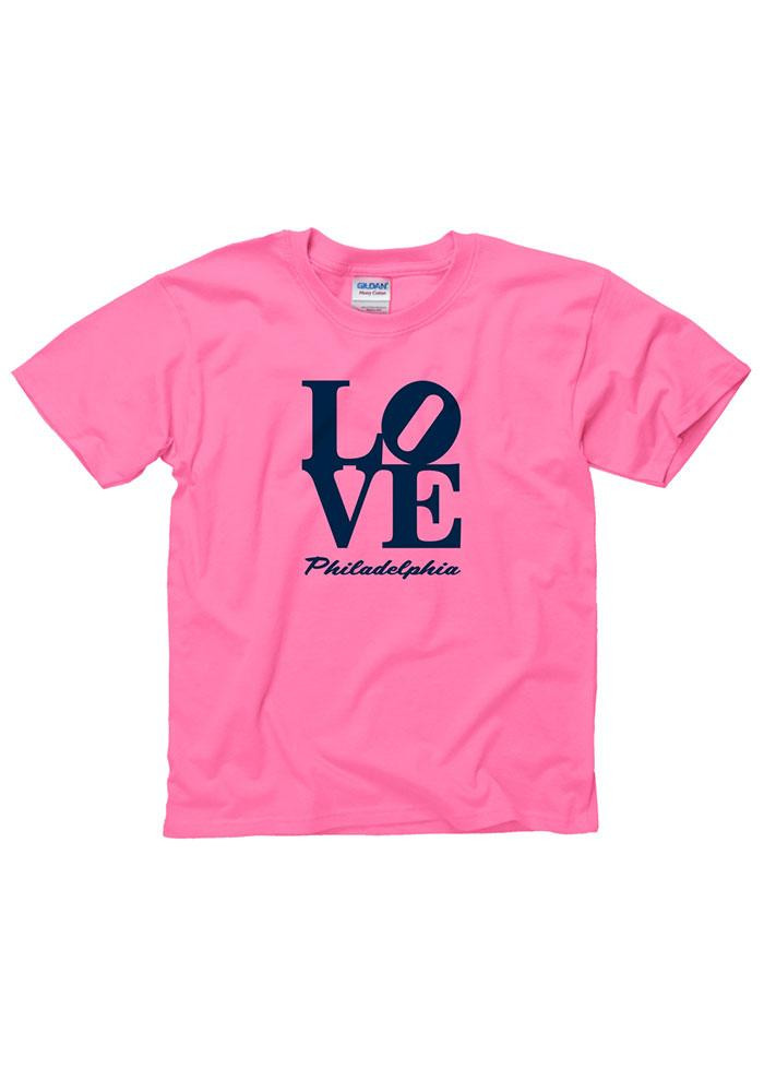 Girls Pink Love Philly Short Sleeve Tee - Image 1