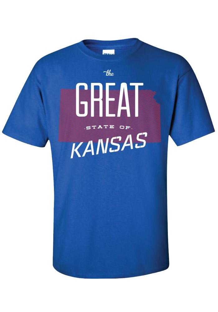 Kansas Blue The Great State of Short Sleeve T Shirt - Image 1