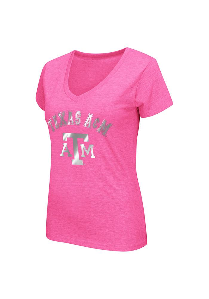 Colosseum Texas A&M Aggies Juniors Pink Electric V-Neck T-Shirt - Image 1