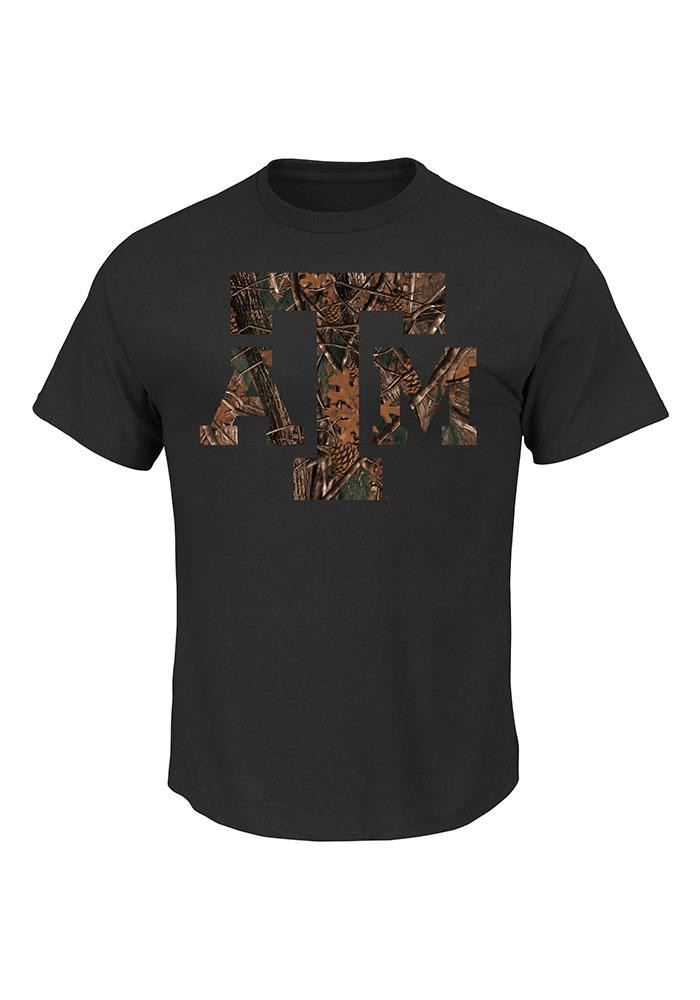 Majestic Texas A&M Aggies Mens Black Big Logo Camo Short Sleeve T Shirt - Image 1