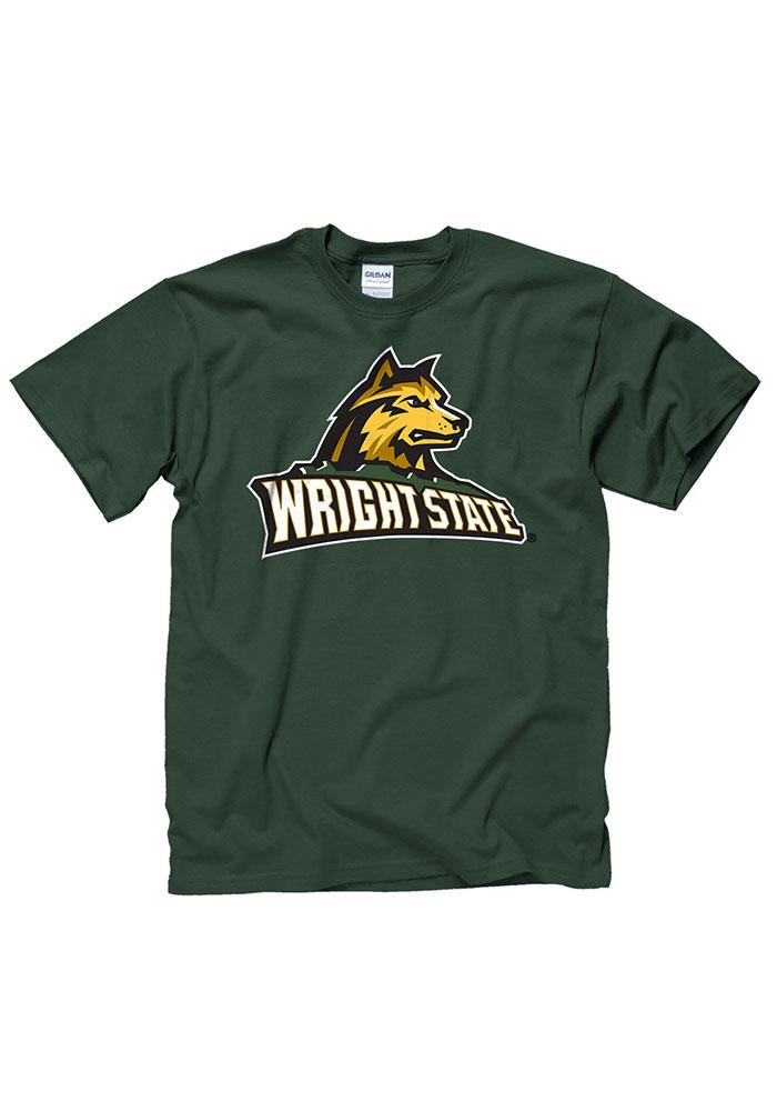 Wright State Raiders Mens Green Big Logo Short Sleeve T Shirt - Image 1
