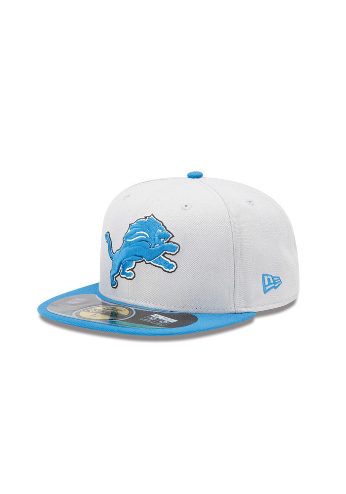 New Era Detroit Lions Grey Sideline 5950 Youth Fitted Hat - Image 1