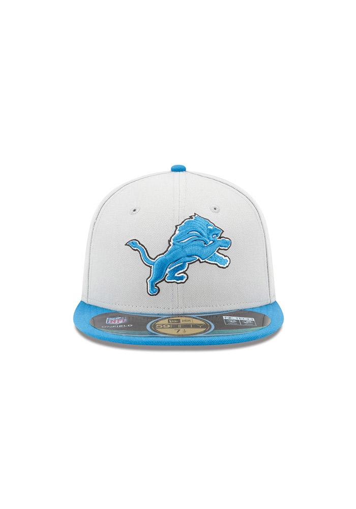 New Era Detroit Lions Grey Sideline 5950 Youth Fitted Hat - Image 4
