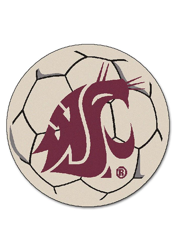 Washington State Cougars 27 Inch Soccer Interior Rug - Image 1