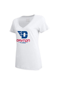Under Armour Dayton Flyers Juniors White Charged V-Neck