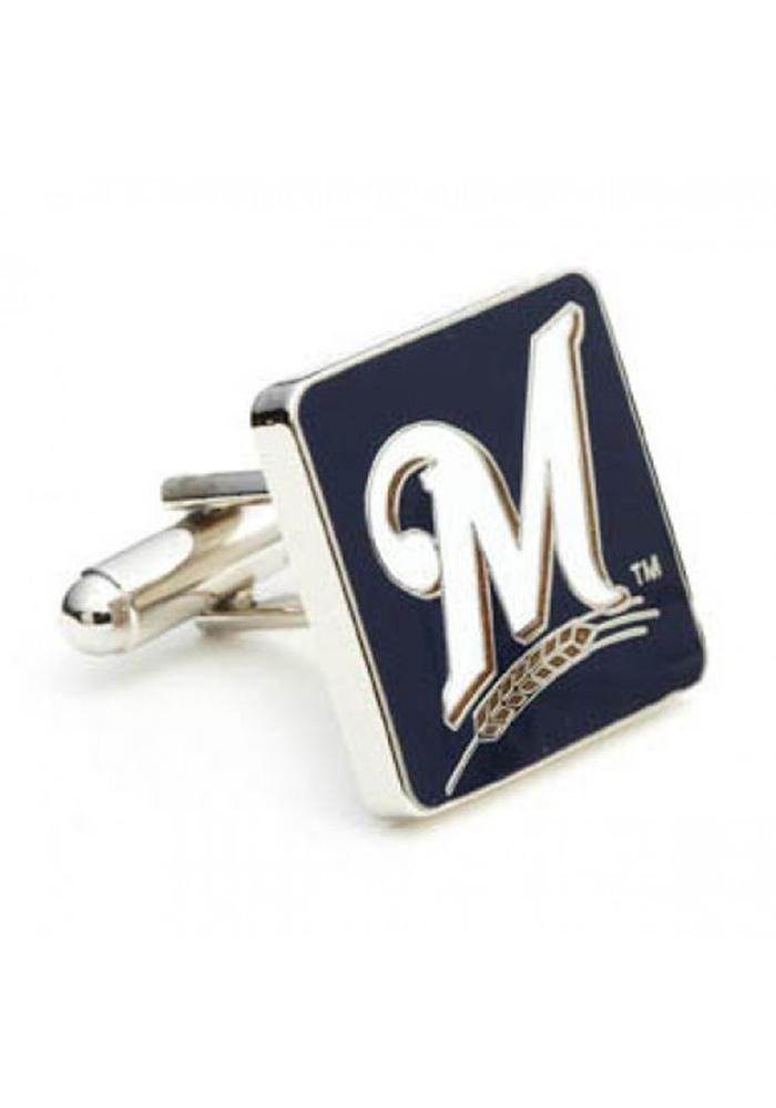 Milwaukee Brewers Silver Plated Mens Cufflinks - Image 1