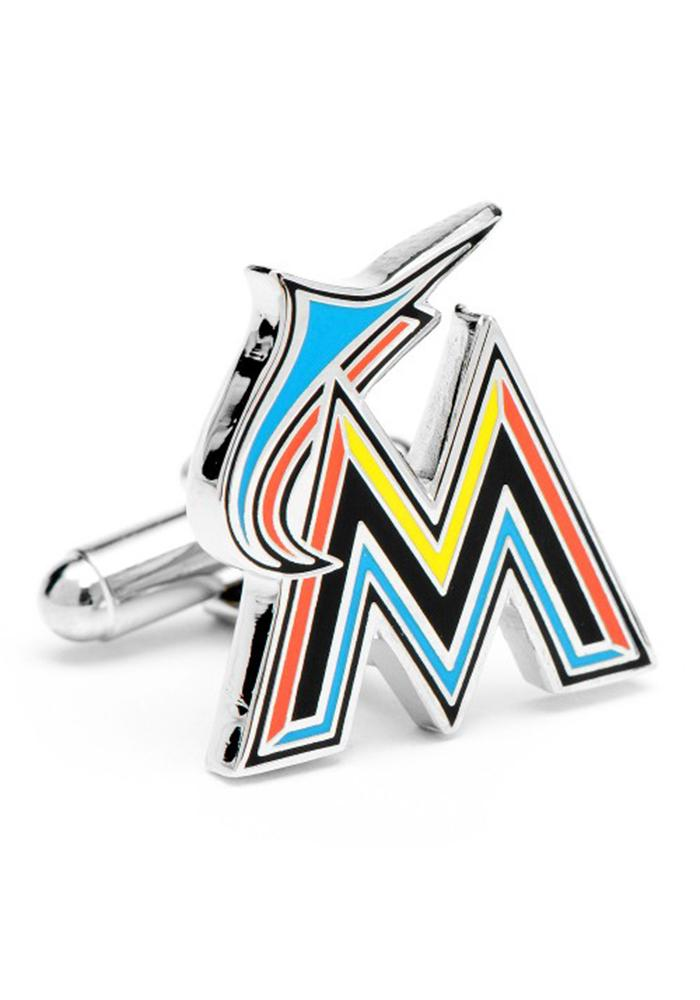 Miami Marlins Silver Plated Mens Cufflinks - Image 1