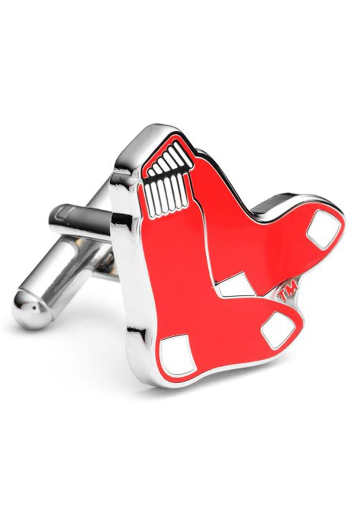 Boston Red Sox Silver Plated Mens Cufflinks - Image 1