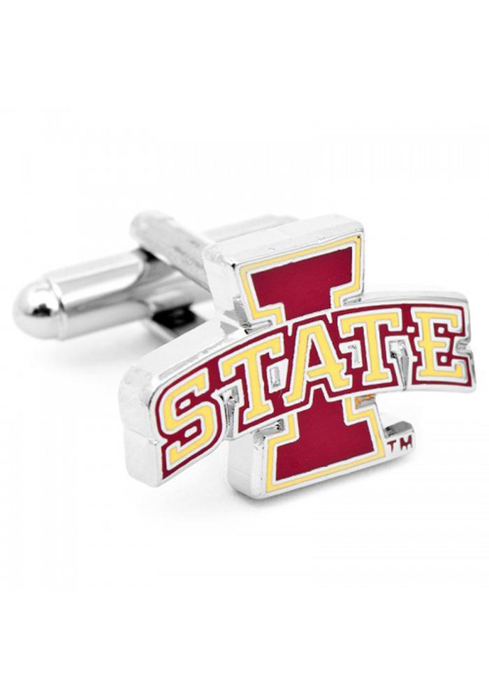 Iowa State Cyclones Silver Plated Mens Cufflinks - Image 1