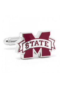 Mississippi State Bulldogs Silver Plated Cufflinks - Silver