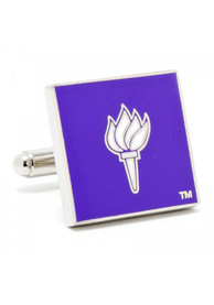 NYU Violets Silver Plated Cufflinks - Silver