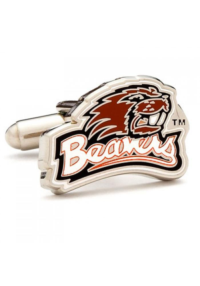 Oregon State Beavers Silver Plated Mens Cufflinks - Image 2