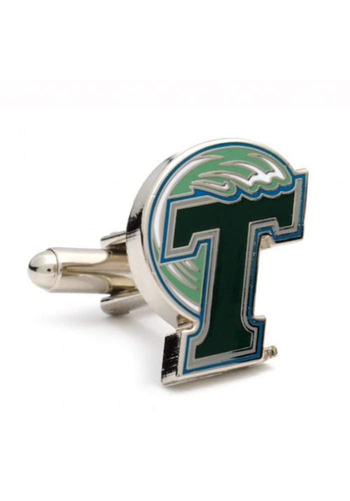 Tulane Green Wave Silver Plated Mens Cufflinks - Image 1