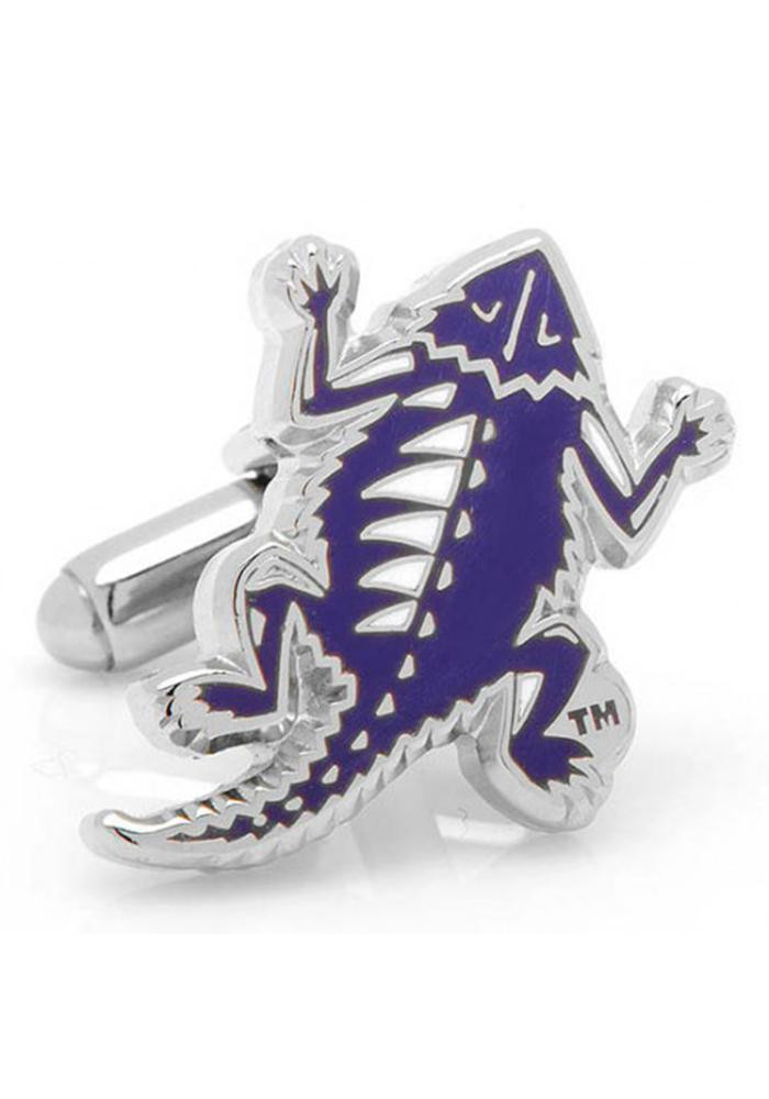 TCU Horned Frogs Silver Plated Mens Cufflinks - Image 2