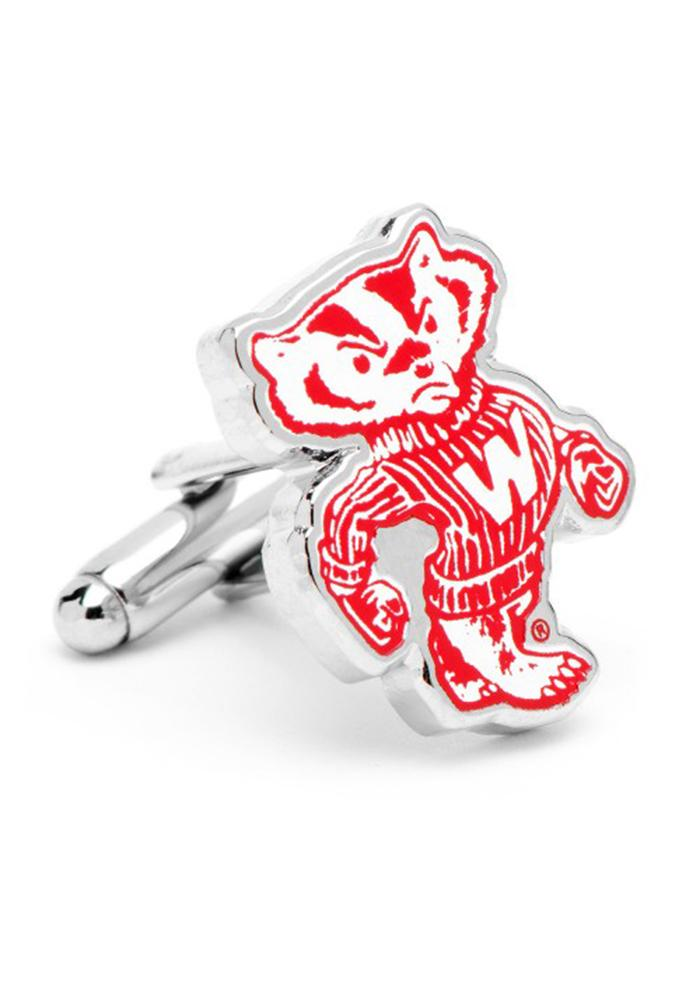 Wisconsin Badgers Silver Plated Mens Cufflinks - Image 1