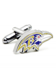 Baltimore Ravens Silver Plated Cufflinks - Silver