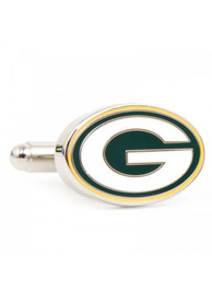 Green Bay Packers Silver Plated Cufflinks - Silver