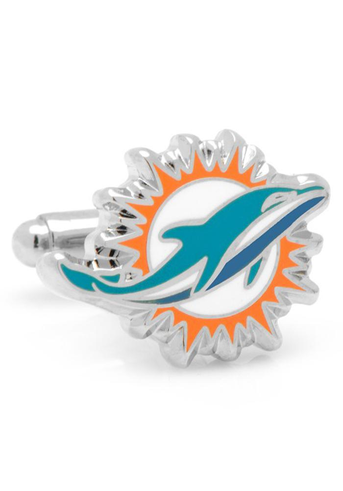 Miami Dolphins Silver Plated Mens Cufflinks - Image 1