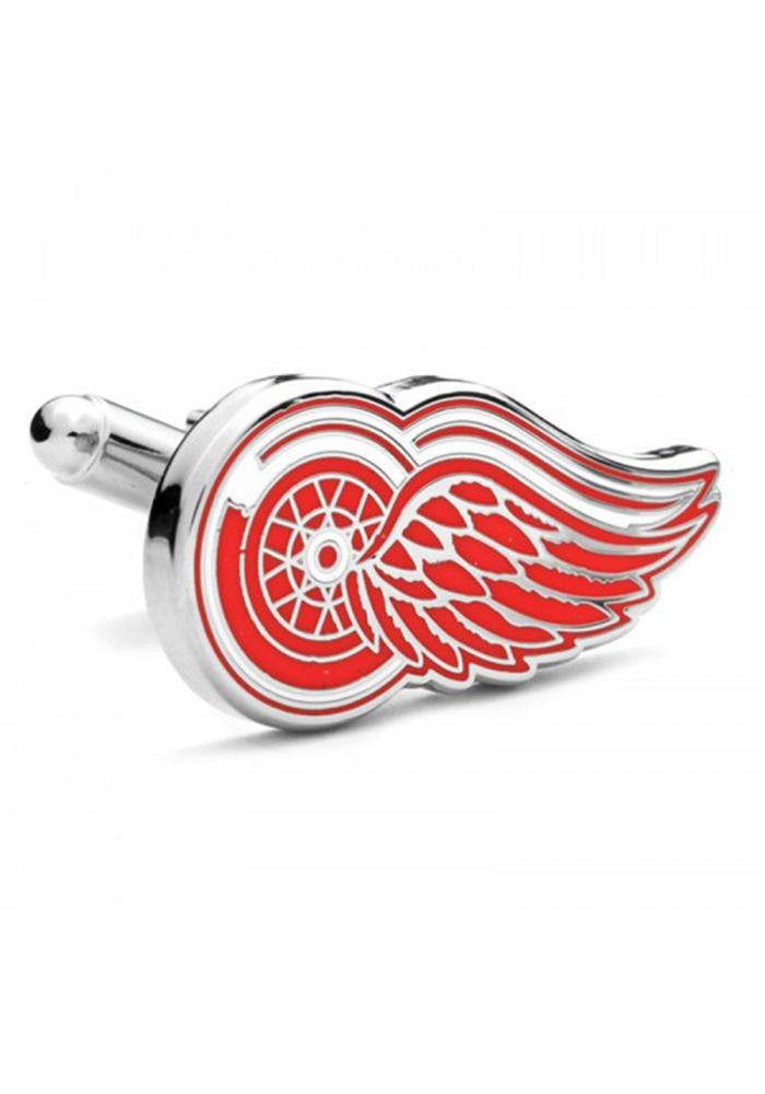 Detroit Red Wings Silver Plated Mens Cufflinks - Image 1