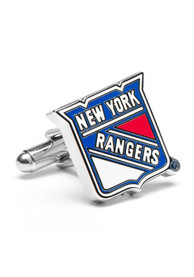 New York Rangers Silver Plated Cufflinks - Silver
