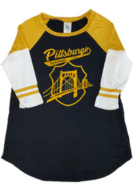 Pittsburgh Black Bridge Badge Raglan ¾ Sleeve T Shirt