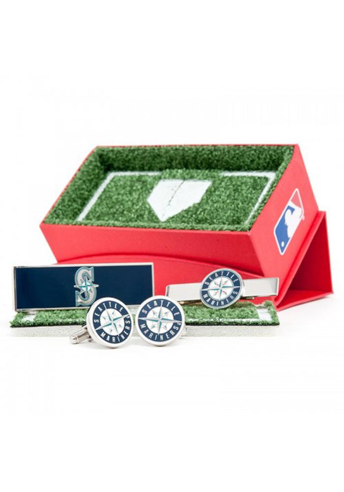 Seattle Mariners 3 Piece Mens Cufflinks - Image 1