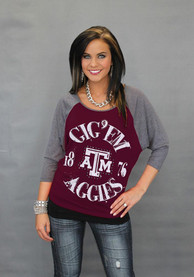 Gameday Couture Texas A&M Aggies Womens Vintage Dolman Scoop Neck Tee