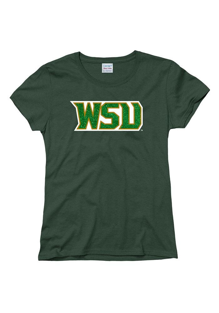 Wright State Raiders Womens Green Glitzy Short Sleeve T-Shirt - Image 1