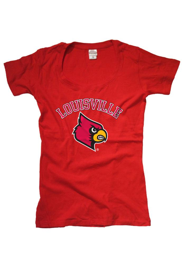 Louisville Cardinals Womens Red Arched Mascot Short Sleeve Scoop - Image 1