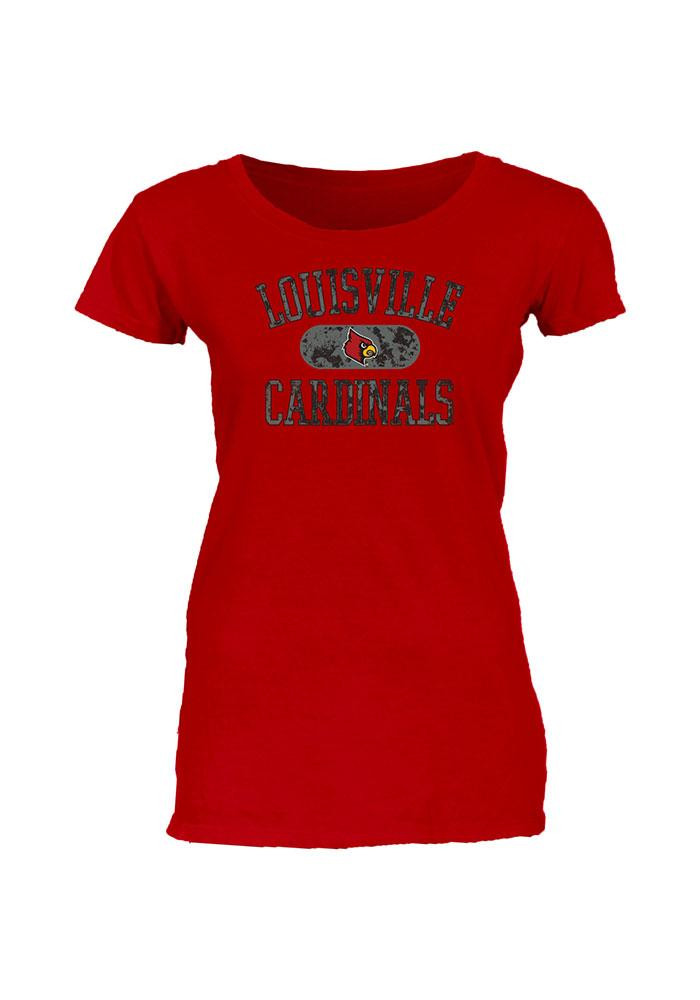 Louisville Cardinals Juniors Red Dyed Infused Scoop T-Shirt - Image 1
