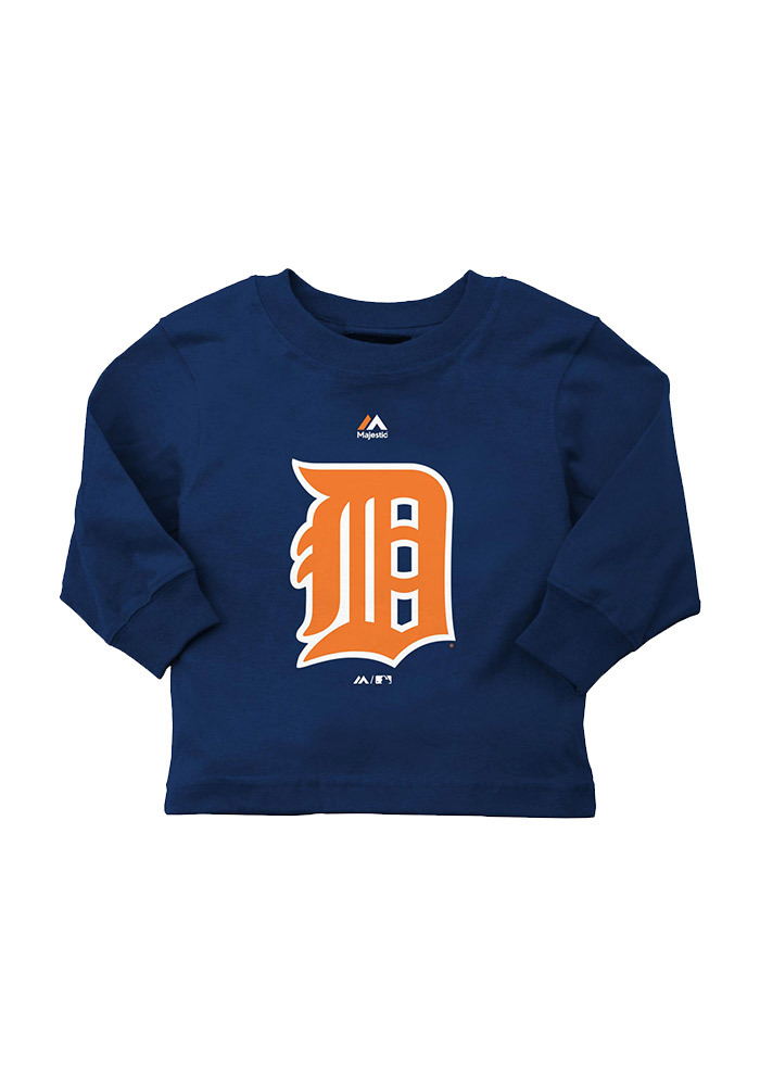 Detroit Tigers Baby Navy Blue Infant Long Sleeve T-Shirt - Image 1