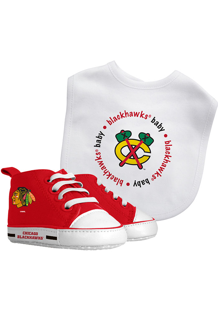 Chicago Blackhawks Bib with Pre-Walker Baby Gift Set - Image 1