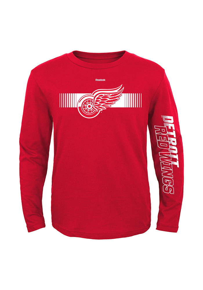 Detroit Red Wings Youth Red Blinder Long Sleeve T-Shirt - Image 1