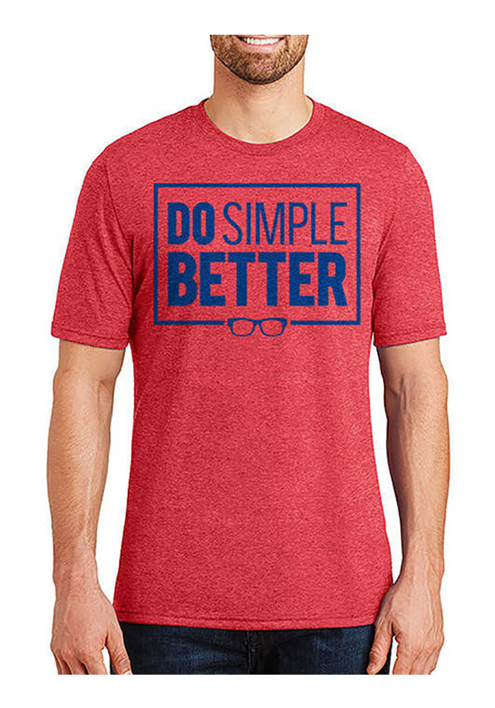 Joe Maddon Chicago Cubs Mens Red Do Simple Better Short Sleeve Fashion Player T Shirt - Image 1