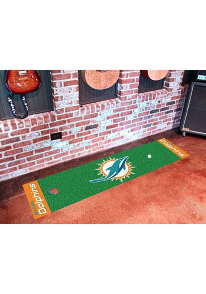 Miami Dolphins 18x72 Putting Green Runner Interior Rug - Image 1