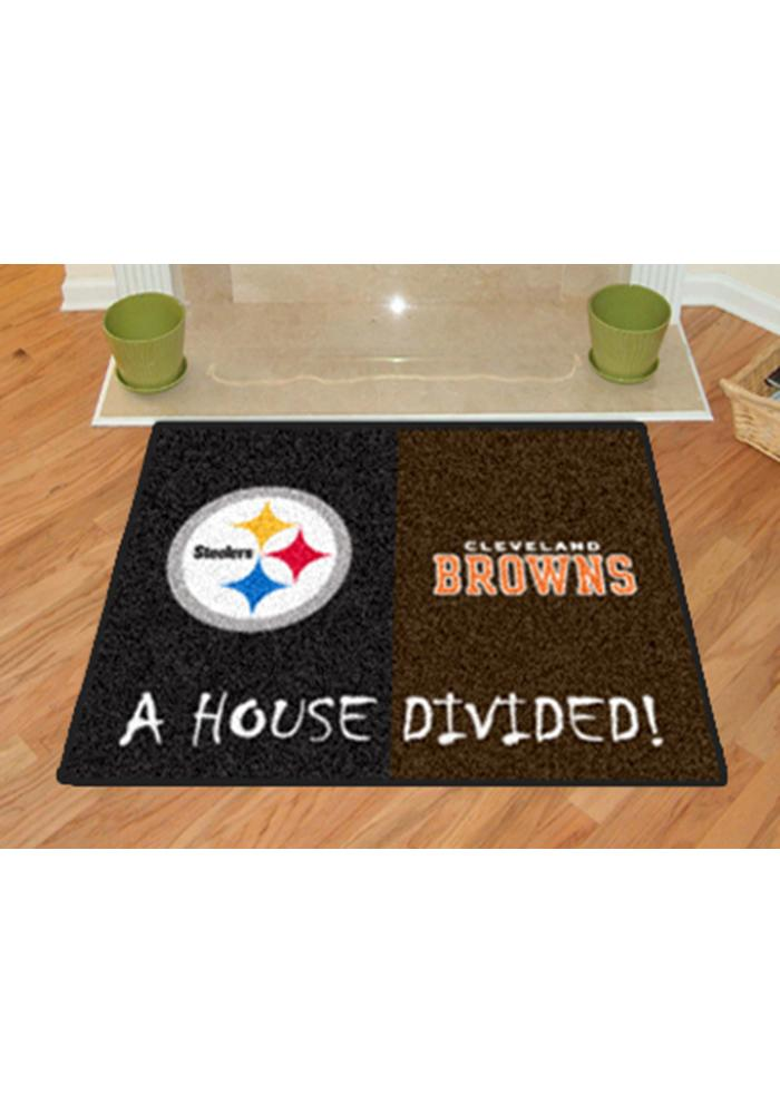 Pittsburgh Steelers and Cleveland Browns 34x45 House Divided Interior Rug - Image 2