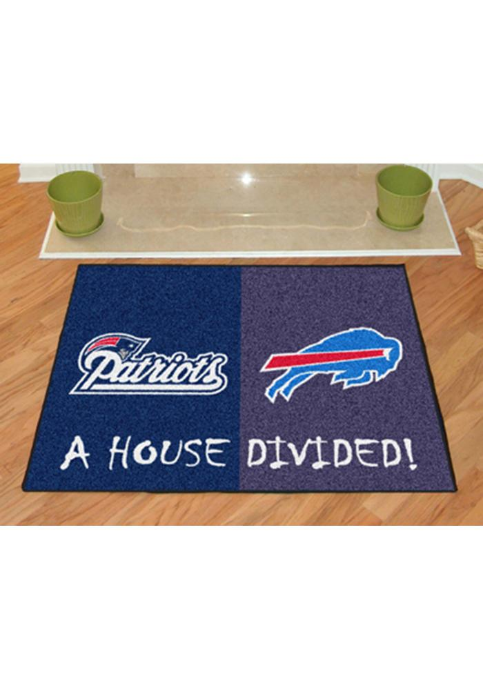 New England Patriots and Buffalo Bills 34x45 House Divided Interior Rug - Image 2