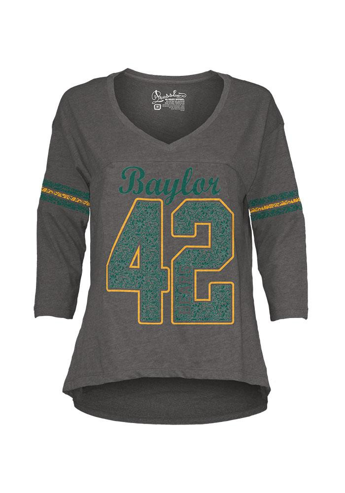 Baylor Bears Juniors Grey Hannity Fashion Long Sleeve T-Shirt - Image 1