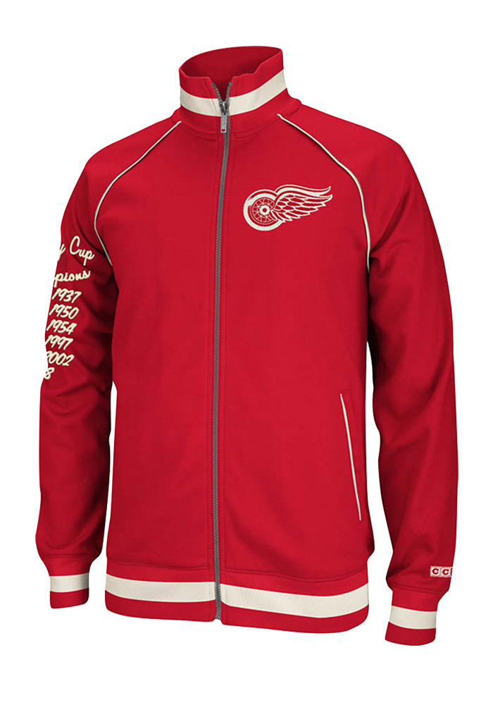 Reebok Detroit Red Wings Mens Red Track Track Jacket - Image 1